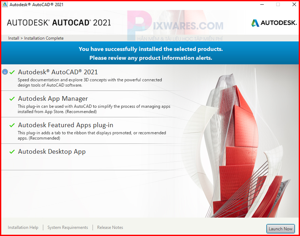 cai-dat-autocad-2021-xong-bam-launch-now