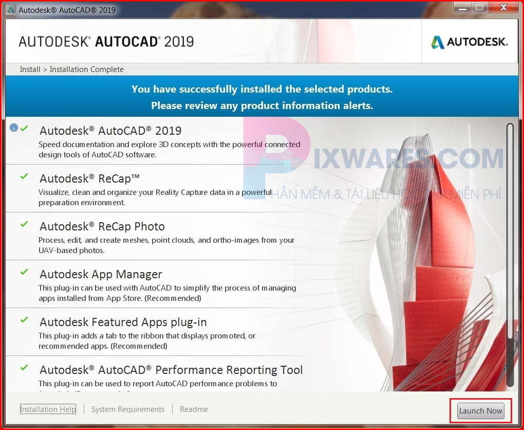 autocad-2019-chay-cai-dat-xong-bam-lauch-now