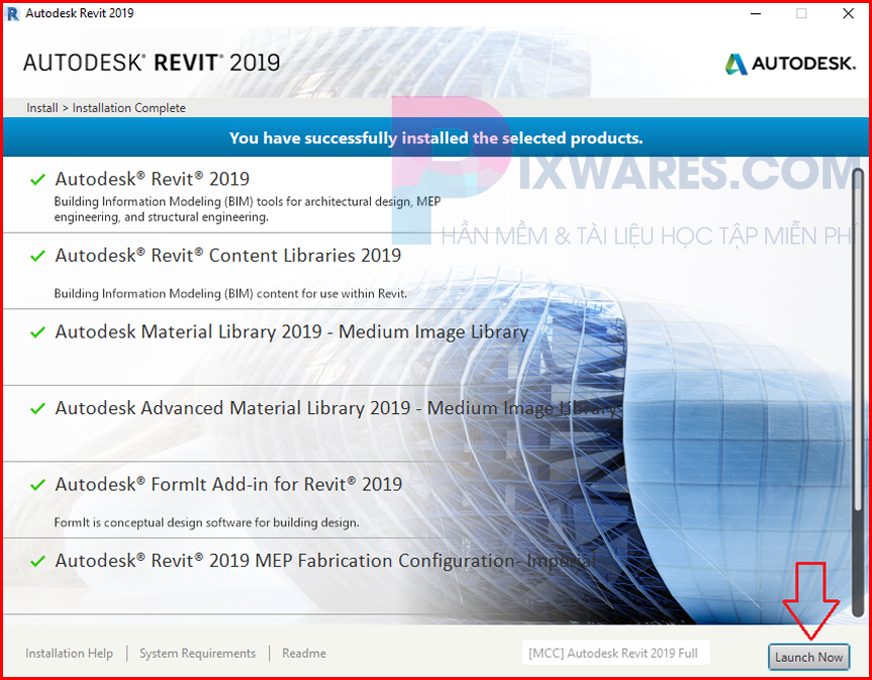 revit-2019-chay-xong-bam-lauch-now